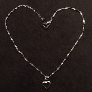 Silver Necklace with Heart Clasp and Heart Charm